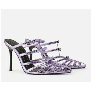 Zara Lilac Purple Bow Pointed High Heel Sandals
